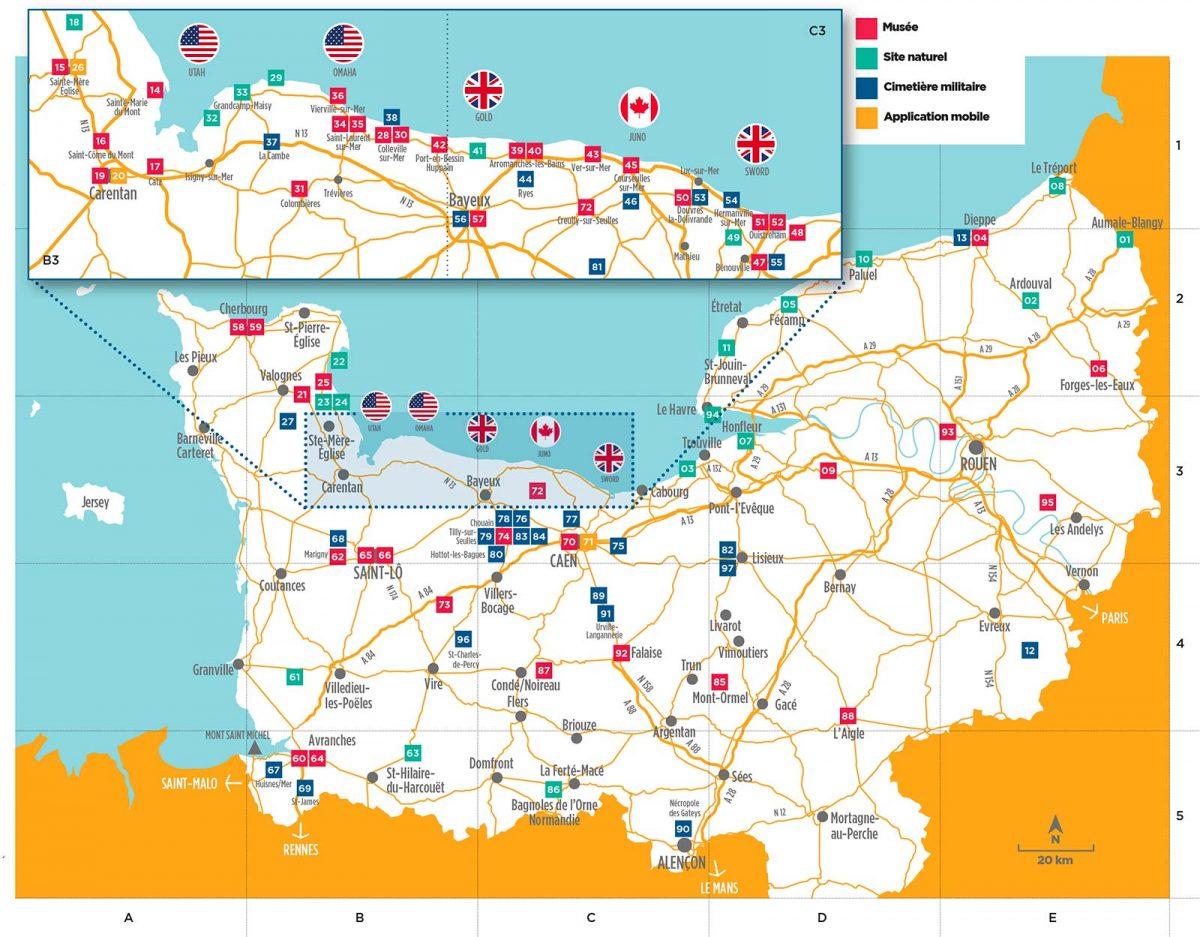 Karte der D-Day Landungsstrände in der Normandie : Utah, Omaha, Gold, Juno et Sword