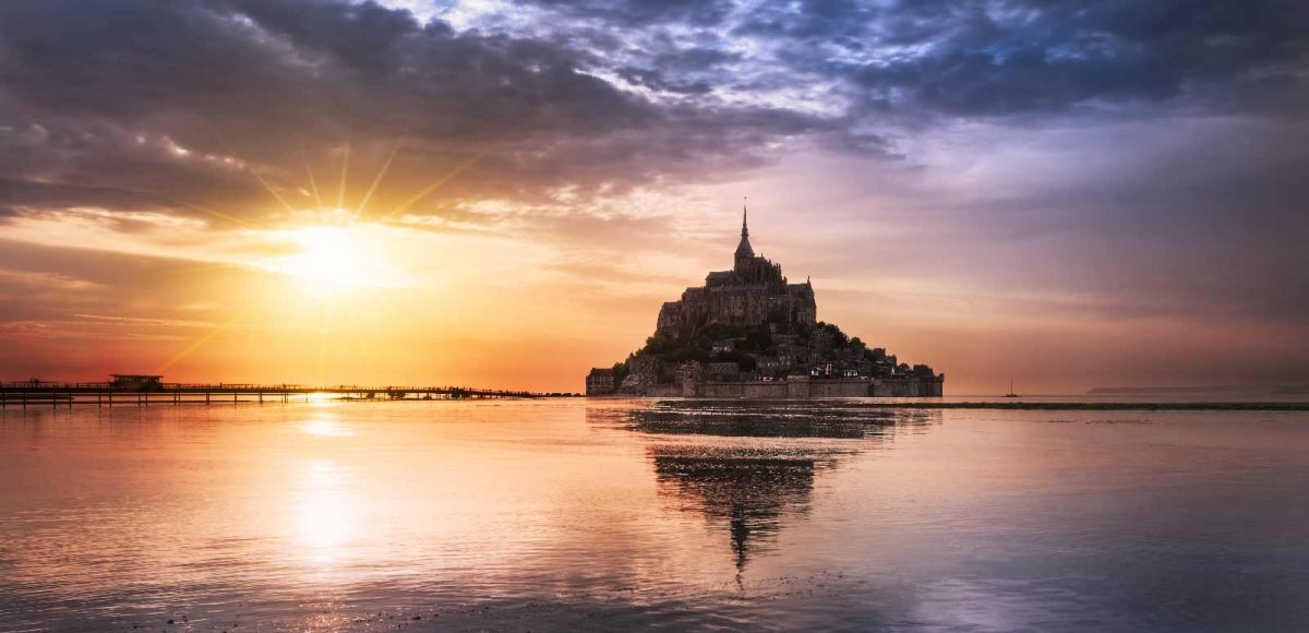 Sonnenuntergang am Mont-Saint-Michel