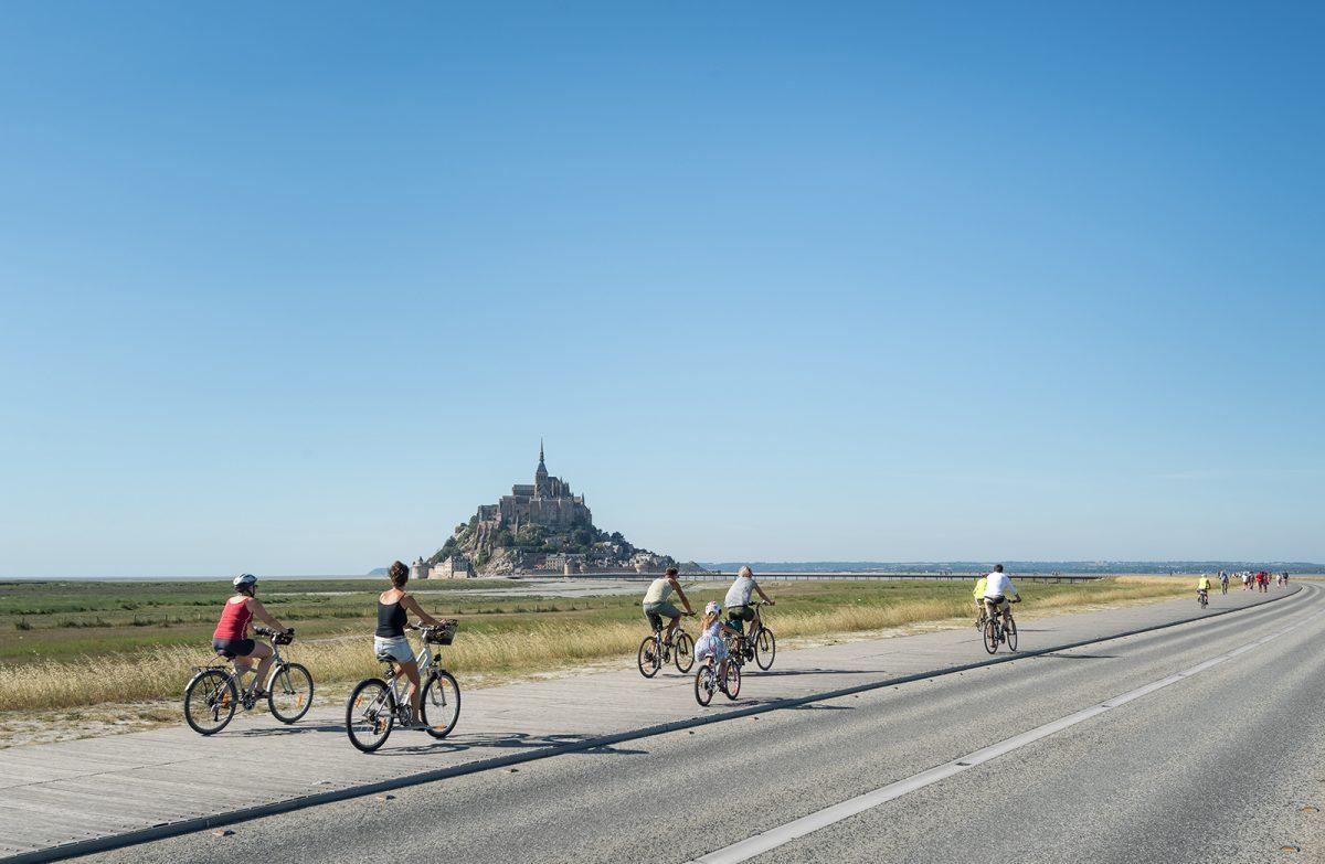 Radfahren am Mont Saint-Michel