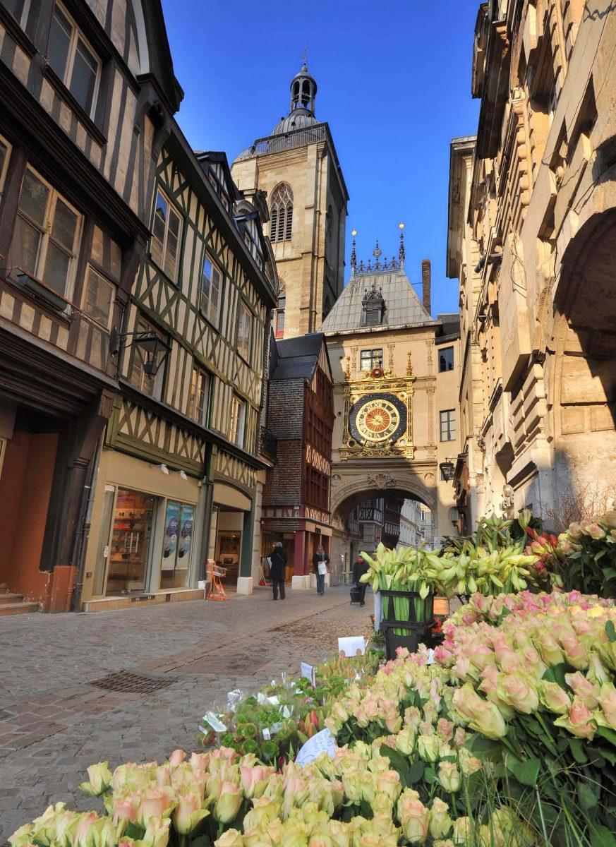 Die Rue du Gros Horloge in Rouen