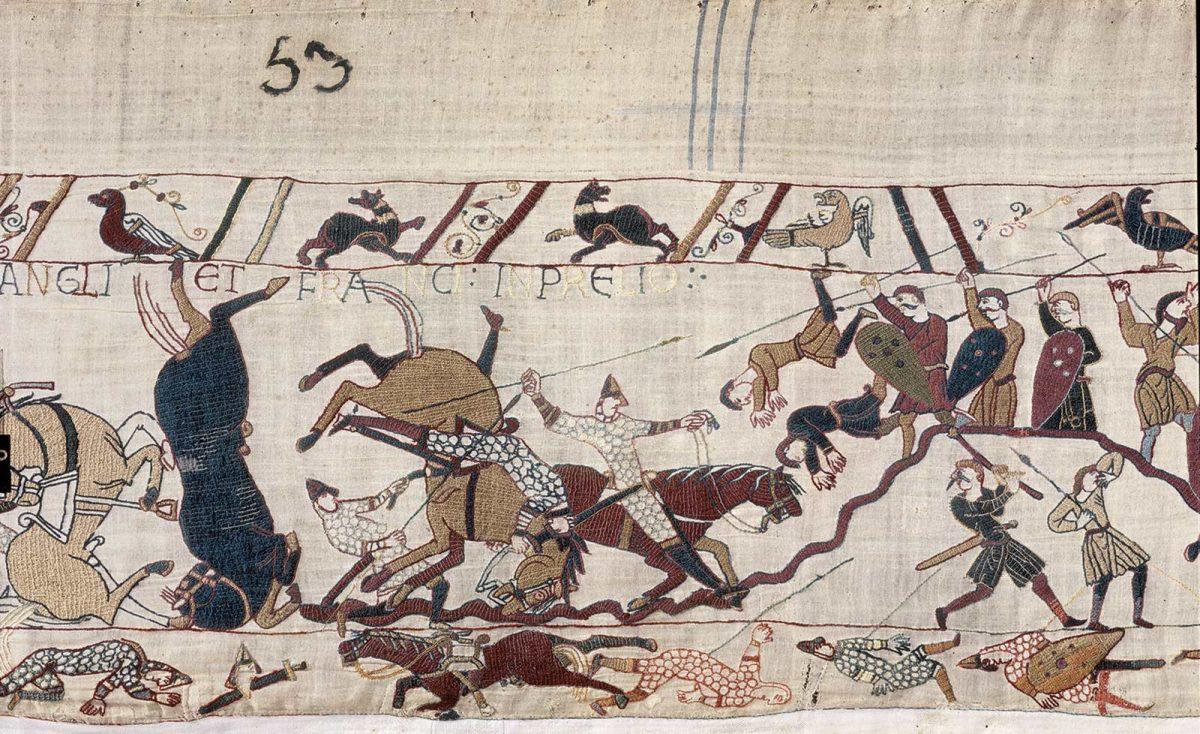 Detail des Teppichs von Bayeux, UNESCO Welkulturerbe