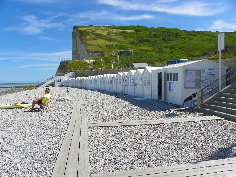 Strandkabinen bei Les Petites Dalles